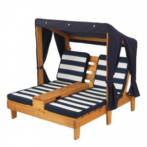 Double Chaise Lounge with Cup Holders (Honey with Navy/White) - Kidkraft (00524)