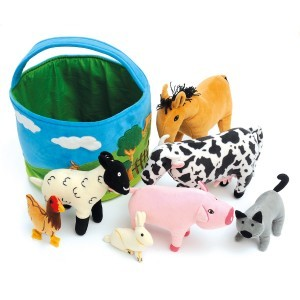 Basket of Soft Farm Animals - (61129)