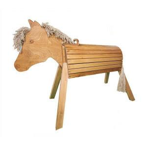 Wooden Horse 80 Cm Glazed