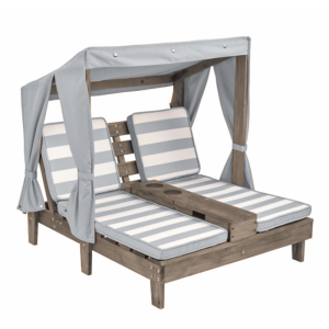 Double Chaise Lounge With Cup Holders - Gray
