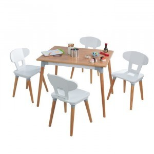 Mid-century Kid Set With Table and 4 Chairs For Toddlers