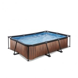 Exit Wood Pool 300x200x65cm with Filter Pump - Brown