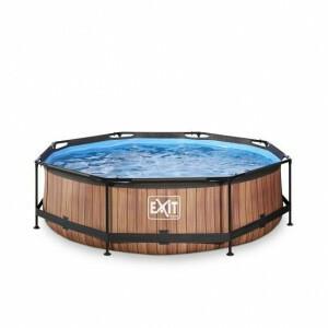 Exit Wood Pool Ø300x76cm with Filter Pump - Brown