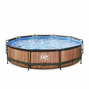 Exit Wood Pool Ø360x76cm with Filter Pump - Brown