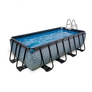 Exit Stone Pool 400x200x100cm with Filter Pump - Gray