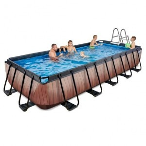 Exit Wood Pool 540x250x100cm with Filter Pump - Brown