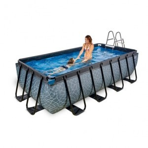 Exit Stone Pool 400x200x100cm with Sand Filter Pump - Gray