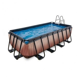 Exit Wood Pool 400x200x100cm with Sand Filter Pump - Brown