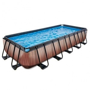 Exit Wood Pool 540x250x100cm with Sand Filter Pump - Brown