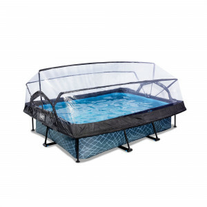 Exit Stone Pool 220x150x65cm with Dome and Filter Pump - Grey