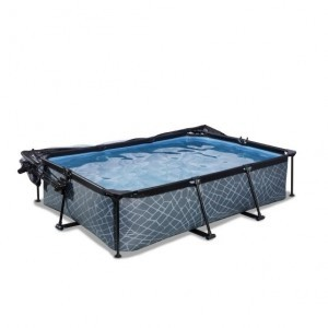 Exit Stone Pool 300x200x65cm with Cover And Filter Pump - Gray