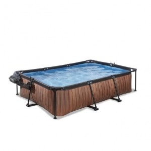 Exit Wood Pool 300x200x65cm with Cover And Filter Pump - Brown