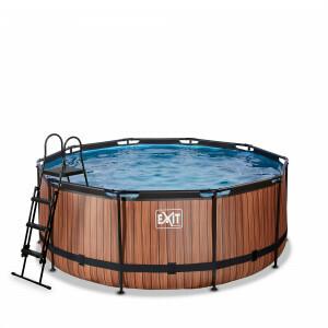 Exit Wood Pool Ø360x122cm with Filter Pump - Brown