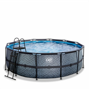 Exit Stone Pool Ø427x122cm with Filter Pump - Grey