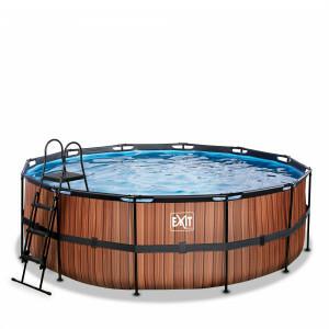 Exit Wood Pool Ø427x122cm with Filter Pump - Brown