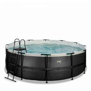 Exit Black Leather Pool Ø427x122cm with Filter Pump - Black