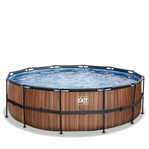 Exit Wood Pool Ø450x122cm with Filter Pump - Brown