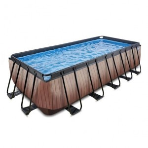 Exit Wood Pool 540x250x122cm with Filter Pump - Brown