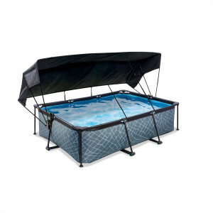 Exit Wood Pool 220x150x65cm with Canopy and Filter Pump - Brown