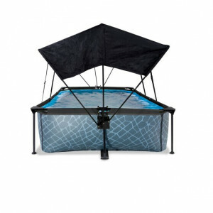 Exit Stone Pool 300x200x65cm with Canopy and Filter Pump - Grey