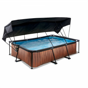 Exit Wood Pool 300x200x65cm with Canopy and Filter Pump - Brown