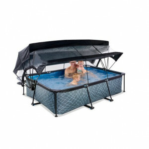 Exit Stone Pool 220x150x65cm with Dome, Canopy and Filter Pump - Grey