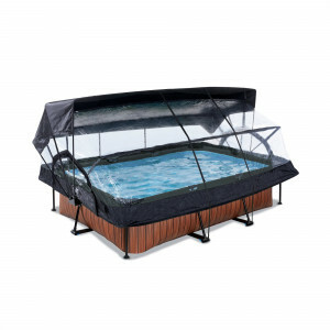 Exit Wood Pool 220x150x65cm with Dome, Canopy and Filter Pump - Brown