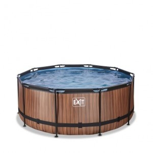 Exit Wood Swimming Pool Ø360x122cm with Sand Filter Pump - Brown