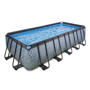 Exit Stone Pool 540x250x122cm with Sand Filter Pump - Gray
