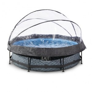 Exit Stone Swimming Pool Ø300x76cm with Cover And Filter Pump - Gray