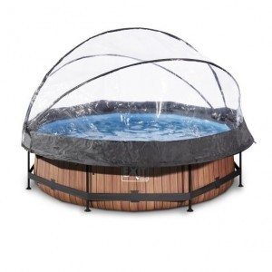Exit Wood Swimming Pool Ø300x76cm with Cover And Filter Pump - Brown