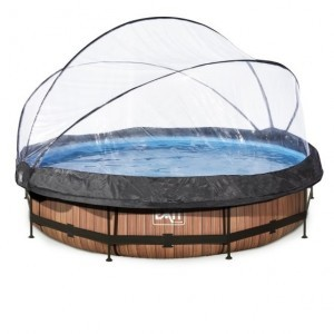 Exit Wood Pool Ø360x76cm with Cover And Filter Pump - Brown
