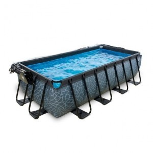 Exit Stone Pool 400x200x100cm with Cover and Filter Pump - Gray