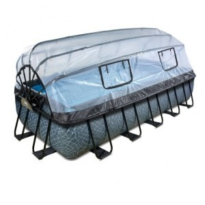 Exit Stone Pool 540x250x100cm with Cover and Filter Pump - Gray