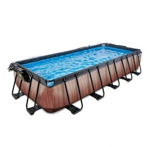 Exit Wood Pool 540x250x100cm with Cover and Filter Pump - Brown