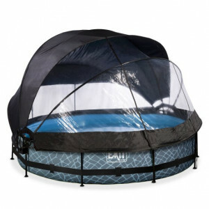 EXIT Stone Pool ø360x76cm with Dome, Canopy and Filter Pump - Grey
