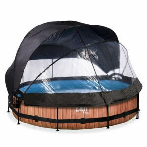 EXIT Wood Pool ø360x76cm with Dome, Canopy and Filter Pump - Brown