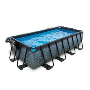 Exit Stone Pool 400x200x100cm with Cover and Sand Filter Pump - Gray