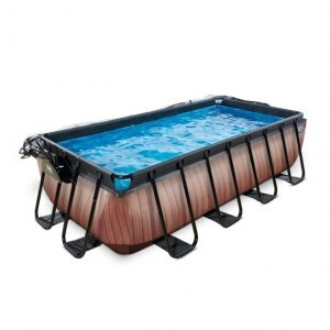 Exit Wood Pool 400x200x100cm with Cover and Sand Filter Pump - Brown