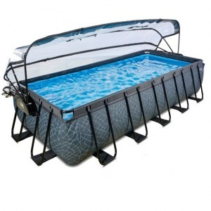 Exit Stone Pool 540x250x100cm with Cover and Sand Filter Pump - Gray