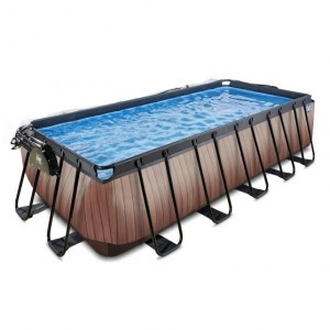 Exit Wood Pool 540x250x122cm with Cover and Filter Pump - Brown