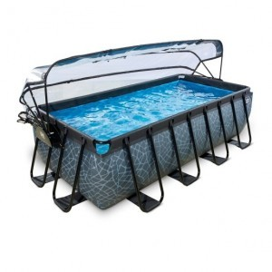 Exit Stone Pool 400x200x100cm with Cover and Sand Filter and Heat Pump - Gray