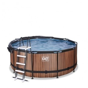 Exit Wood Swimming Pool Ø360x122cm with Cover and Sand Filter And Heat Pump - Brown