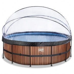 Exit Wood Swimming Pool Ø450x122cm with Cover and Sand Filter and Heat Pump - Brown