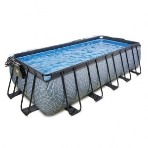 Exit Stone Pool 540x250x122cm with Cover and Sand Filter and Heat Pump - Gray
