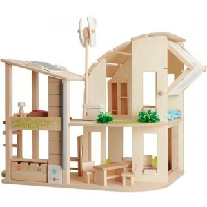 Ecological Wooden Dollhouse with Furniture