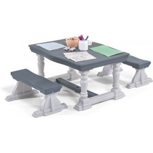 3-piece Farm Style Table & Bench Set Gray / Table 119 X 91 Cm / Bench 40 X 90 Cm