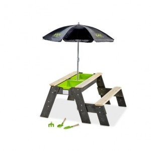 Exit Aksent Sand, Water and Picnic Table 1 Bench with Umbrella and Garden Tools