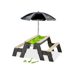 Exit Aksent Sand, Water and Picnic Table 2 Benches with Umbrella and Garden Tools