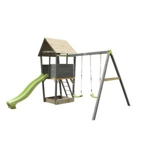 Aksent wooden play tower with 2-seater swing - gray - Exit (52.23.11.00)
